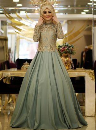 Aleyna Evening Dress Mint Minel Ask Muslim Evening Dresses Evening Dresses Plus Size Dusty Rose Dress