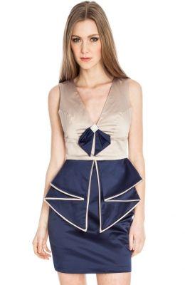 Elegantné dámske šaty Diamond Trim Bow Detail s V výstrihom  ad48f058880