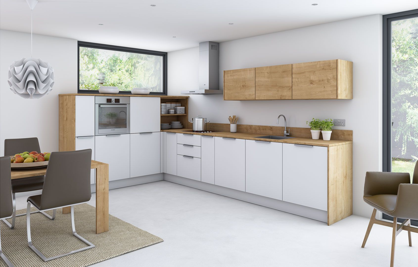 Example of low cost matt lacquer kitchen combined with ...