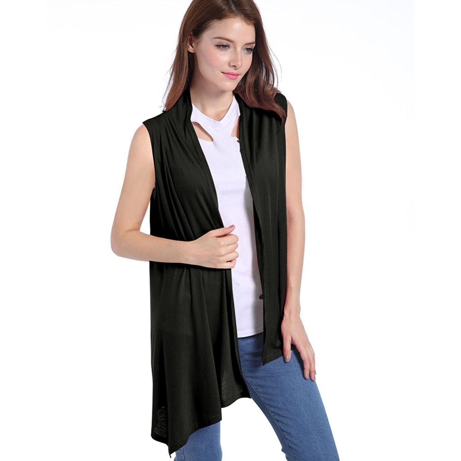 Womens Slim Fit Sleeveless Open Front Cardigan Vest Asymmetric Hem