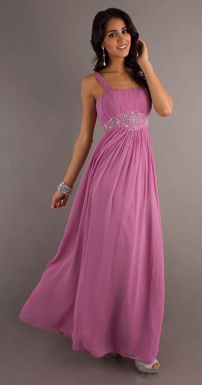 Modest Long Dusty Lilac Formal Chiffon Dress Flowy Wide Strap Empire ...