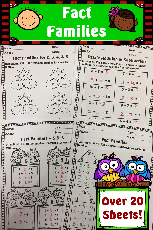Fact Family Worksheet Pack No Prep Over 20 Sheets Ccss Aligned Fact Family Worksheet Fact Families Family Worksheet [ 1440 x 960 Pixel ]