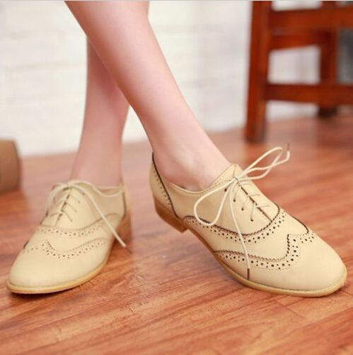 1f39d6257c Brogue Women Lace Up Wing Tip Oxford College Style Flat Fashion Shoes Big  Size