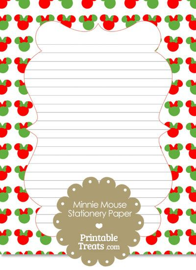 minnie mouse christmas stationery paper from printabletreatscom