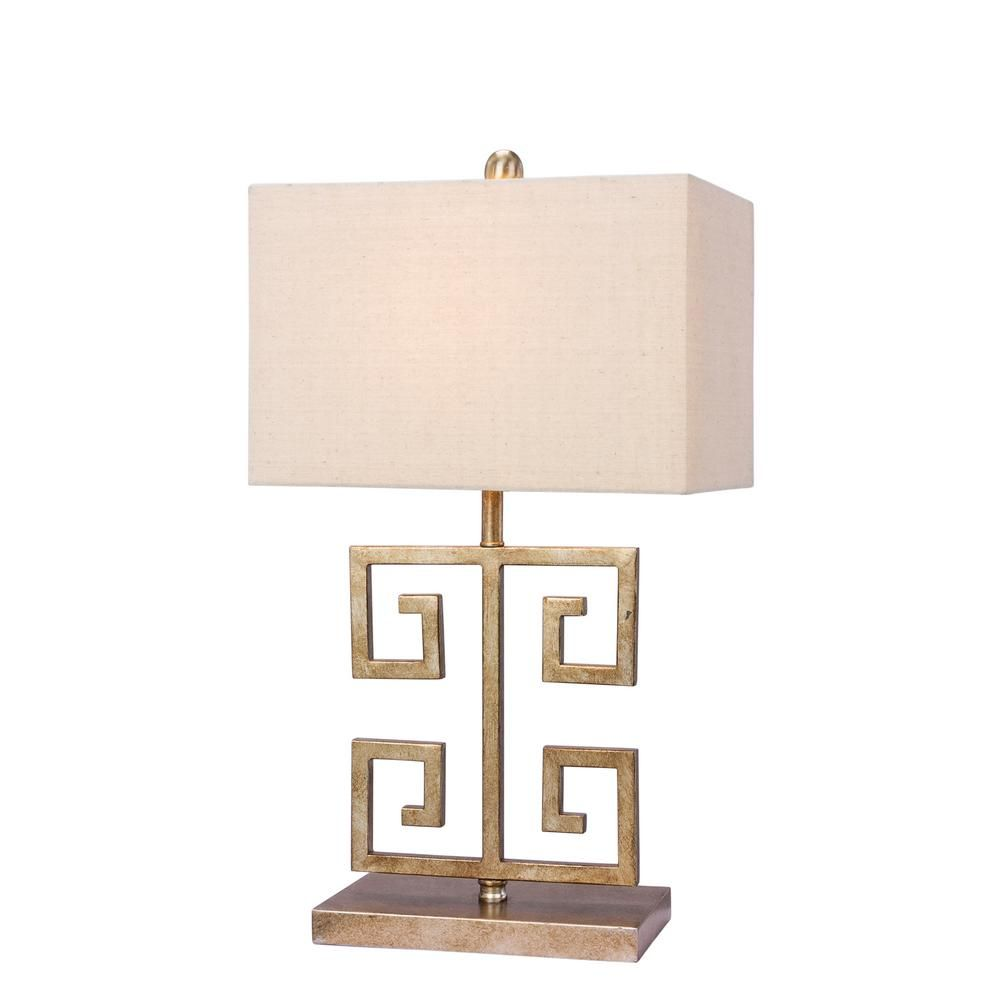Fangio Lighting 22 5 In Antique Gold Metal Table Lamp W 1549 The Home Depot In 2021 Gold Metal Table Gold Metal Accent Table Table Lamp Wood