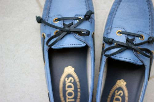 I love Tod's shoes. I have these shoes in white leather trimmed in gold leather.