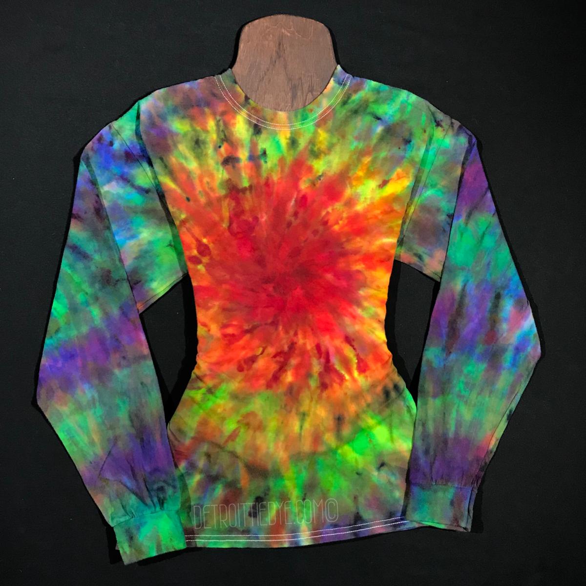 138b2d1e995977 Size Medium Long Sleeve Tie Dye Shirt • Rainbow Spiral Ice Dye – Detroit Tie  Dye Co.