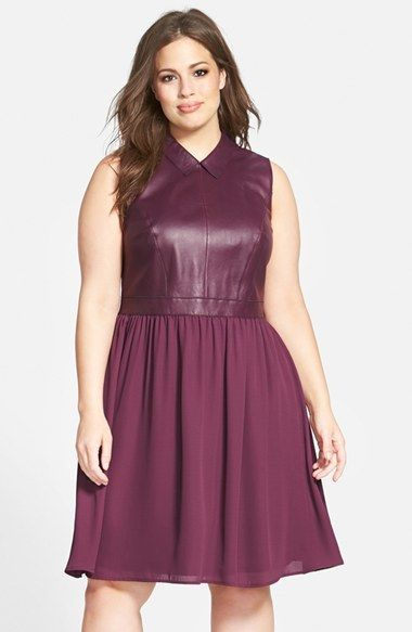 Sejour Leather Detail Sleeveless Mixed Media Fit & Flare Dress (Plus Size)