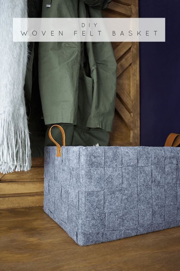 5b59f97880c0 Boost storage and style with a DIY woven felt basket with leather handles.  This project is perfect for corralling winter accessories or collecting toys  in a ...
