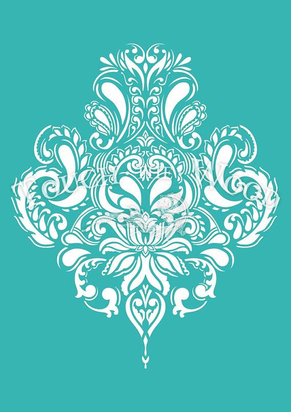 SHABBY CHIC STENCIL (reusable) Vintage Doodle Damask Wallpaper Pattern - STENCIL for Shabby Chic projects. Made of 5 mil (125 microns) durable and