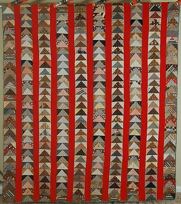 Vibrant 1870's Flying Geese Bars Turkey Red Antique Quilt Nice Vintage Fabrics | eBay
