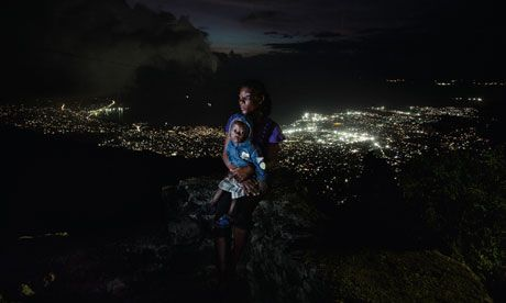 "Displaced by the earthquake in Haiti in 2010, pictured with her son Lovinsky, in Port-au-Prince... ""After six months in the camp, I was raped."" ... read more... then find it in your heart to do something ...please... http://www.guardian.co.uk/world/2012/dec/14/displaced-refugees-andrew-mcconnell-photographs#"
