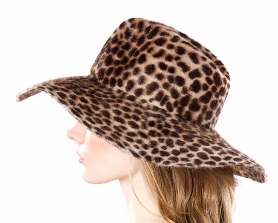 3a256316d76c9 Wide Brimmed Hat Women s Floppy Spring Hat Animal Print Festival Fashion  Fedora Hat Packable Foldabl