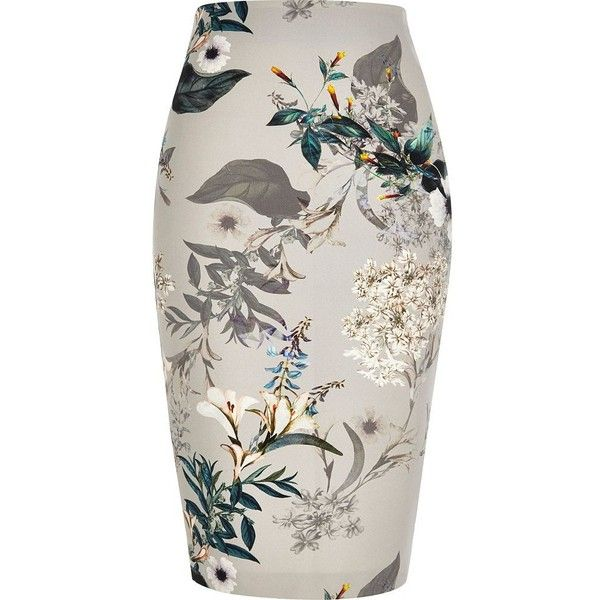 ac5f78e8c6 River Island Grey floral print pencil skirt ($60) ❤ liked on Polyvore  featuring skirts, gray skirt, high-waisted skirts, high waisted knee length  skirt, ...