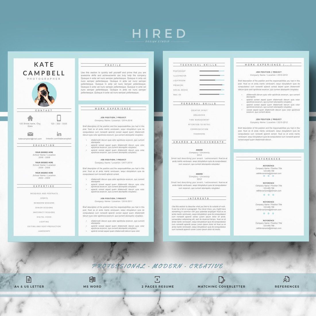 Modern Resume Template for Word: Kate-2 - If you like this template ...