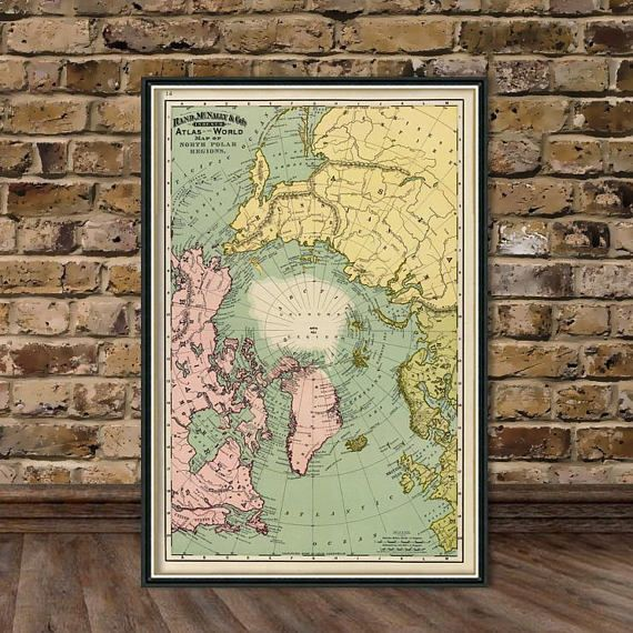 Map Of North Pole Regions Arctica Map Fine Print Pinterest