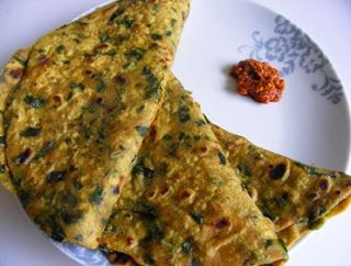 Methi paratha is a #quick breakfast or a side accompaniment to any curry. This is very easy to make #healthy paratha. This recipe is different from the usual paratha #recipe. See more at: - http://alllatestrecipes.blogspot.in/2014/02/methi-parathaquick-and-easy-dinner.html