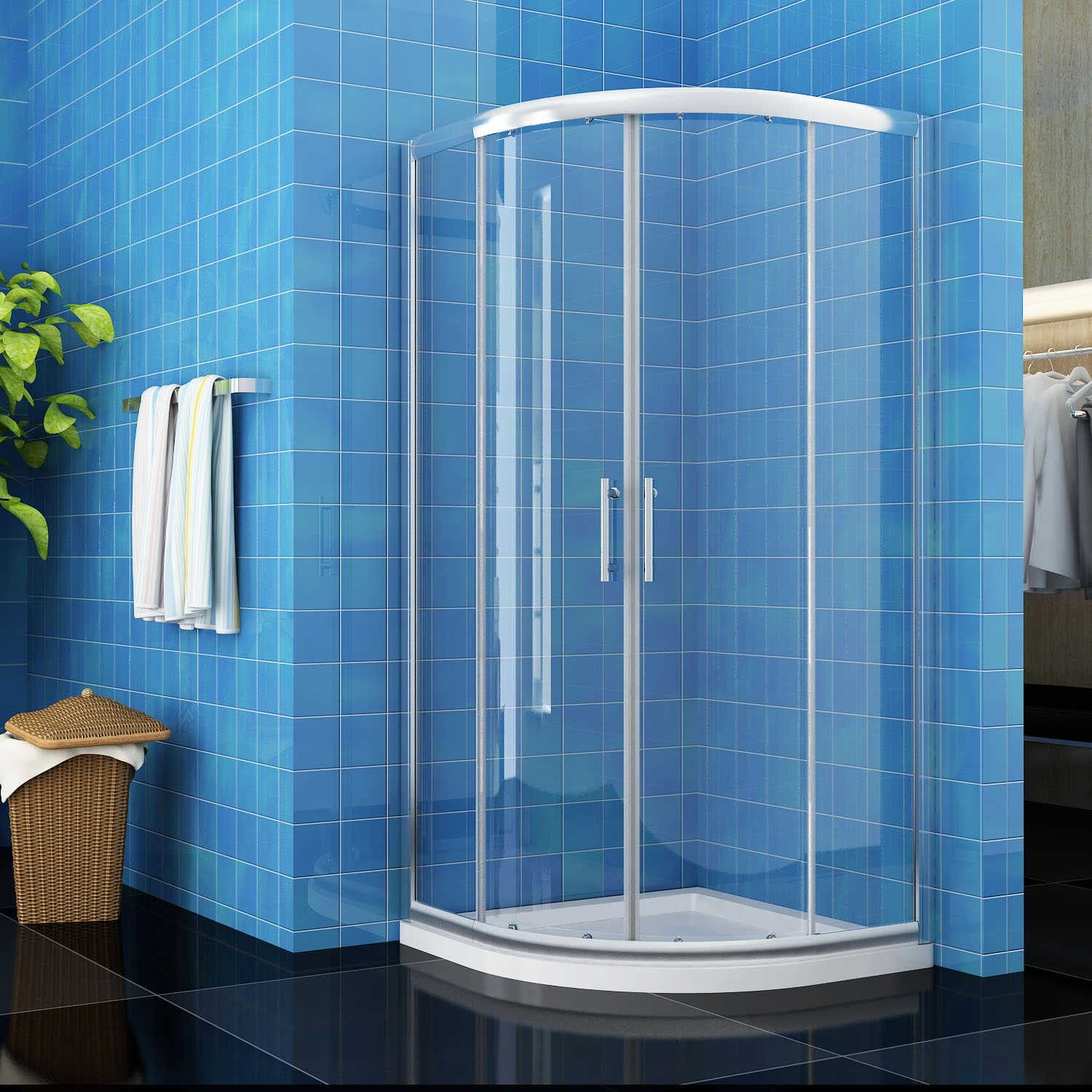 ELEGANT Offset/Quadrant 6mm Easy Clean Glass Shower Enclosure Set ...