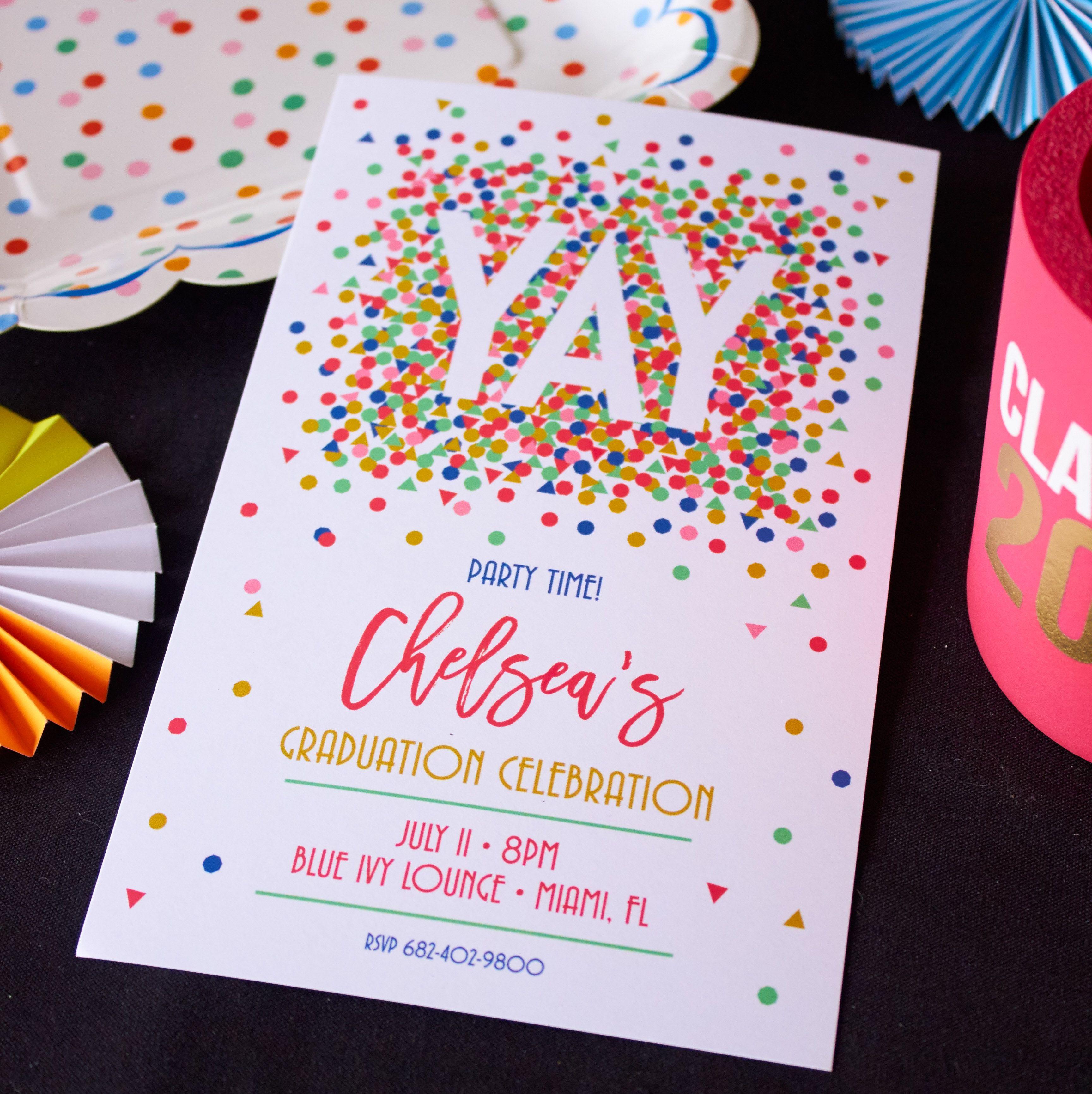 Confetti Pile Digital Invitation | Party invitations, Grad parties ...