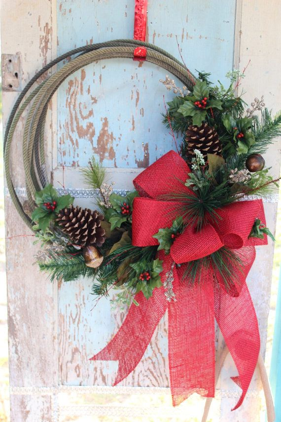 Western Christmas Rope Wreath with red burlap bow, Christmas