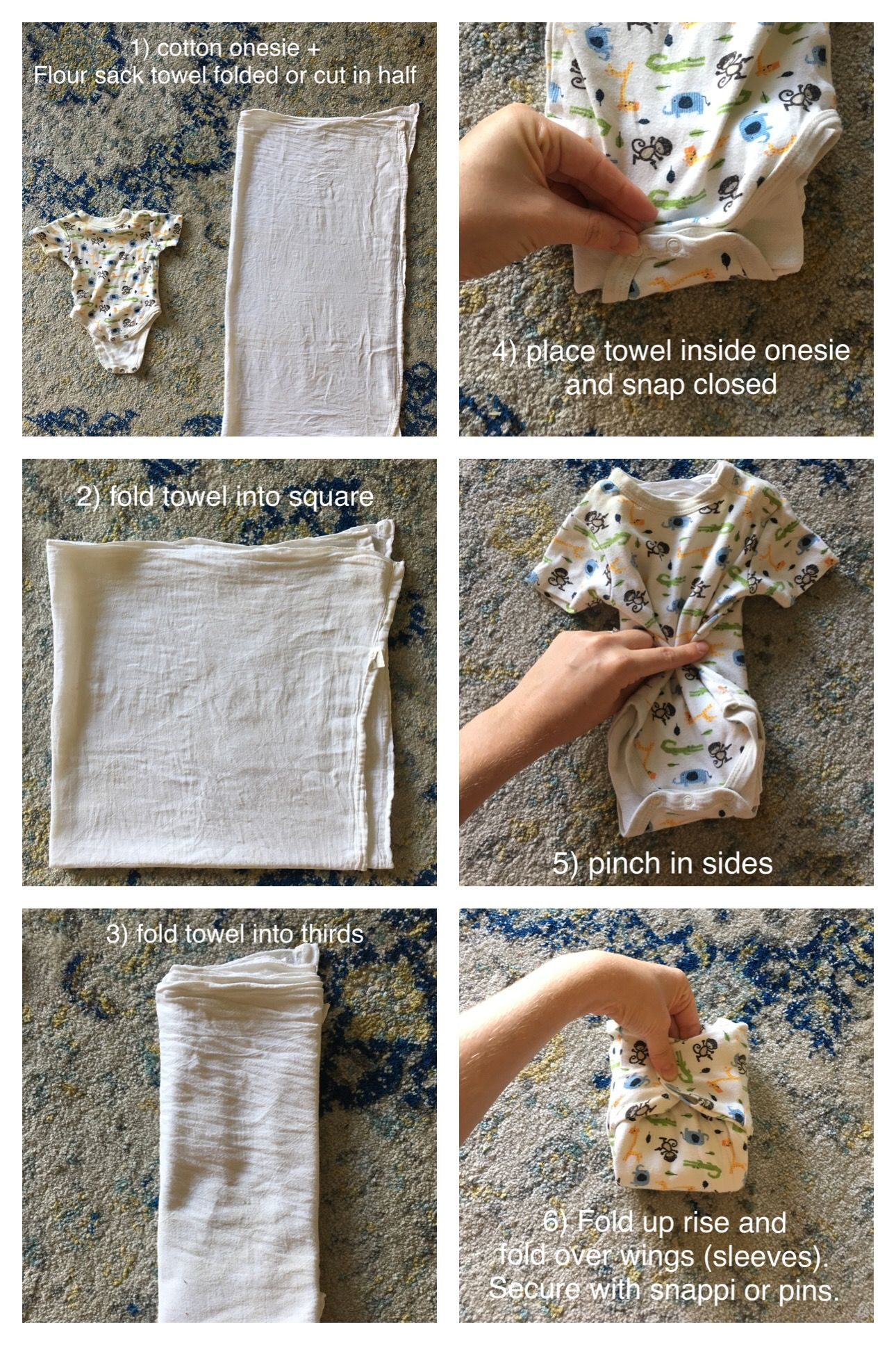 An Inexpensive And Cute Cloth Diapering Solution Using Old Cotton Onesie Flour Sack Towel Use With A Waterproof Cover Or Leave Off To Let