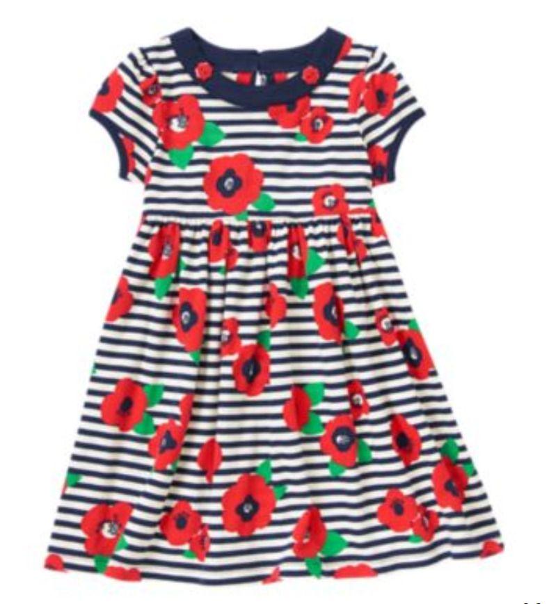 e721d20bb GYMBOREE girl floral dress size 12 red navy stripe 100%cotton ...