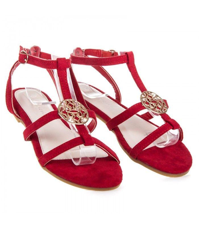 645b89d560 Červené semišové sandále s ozdobou WSJ-33R