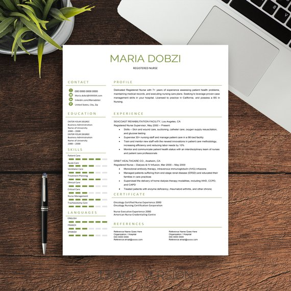 Nurse Resume Template For Word, 1-2-3 Pages A4 And US