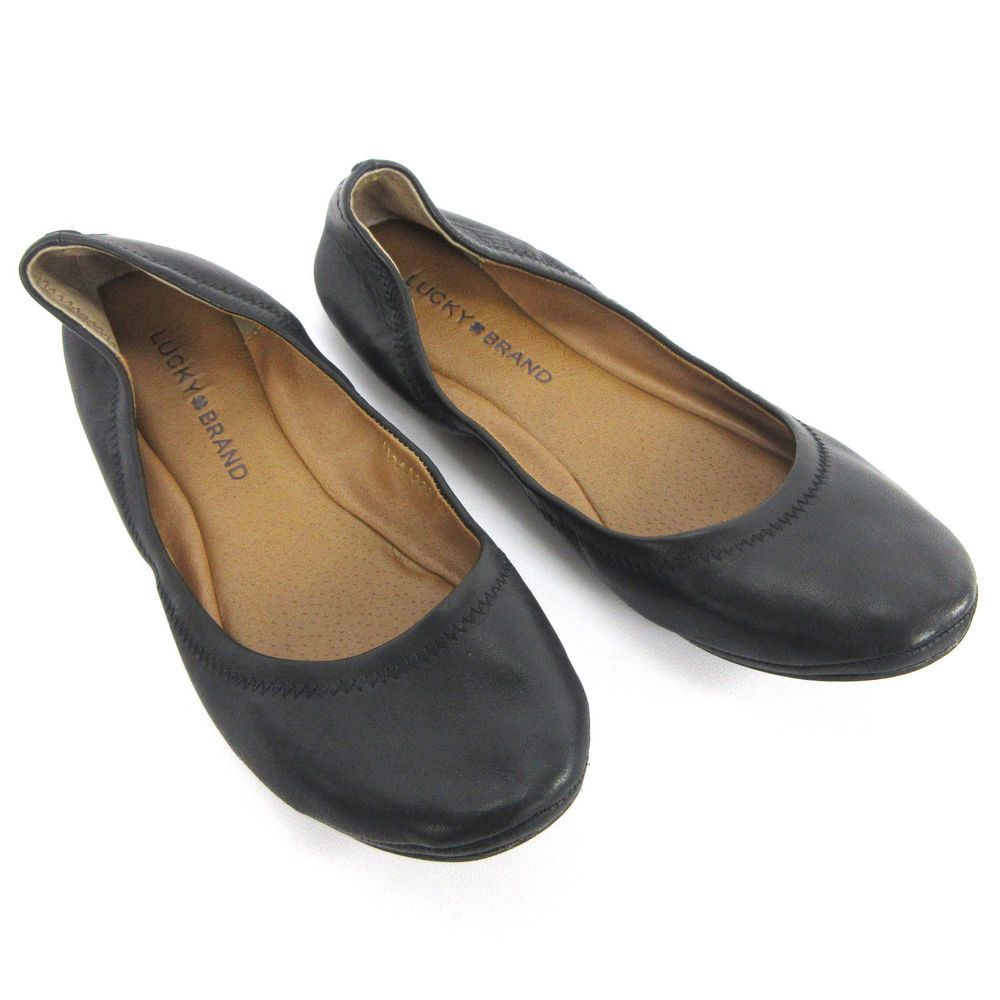 c97f33eb843 Lucky Brand Shoes 7.5 US 37.5 EU Emmie Black Leather Womens Ballet Flats   LuckyBrand  BalletFlat