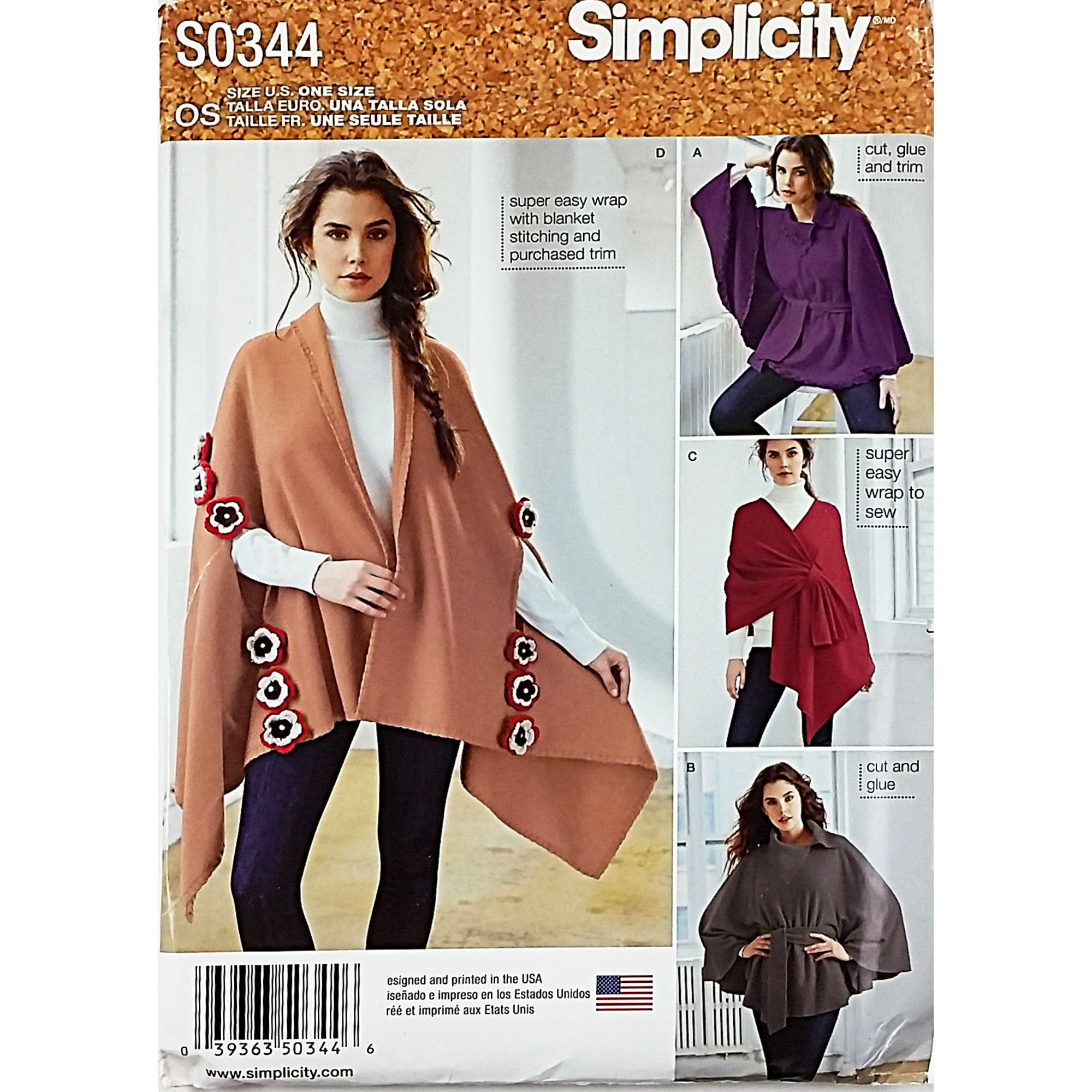 d9d03e94c Sewing Pattern Simplicity S0344 Misses' Fleece Ponchos and Wraps One Size  Fits Most Pattern is complete with 7 pieces, instructions, and envelope.