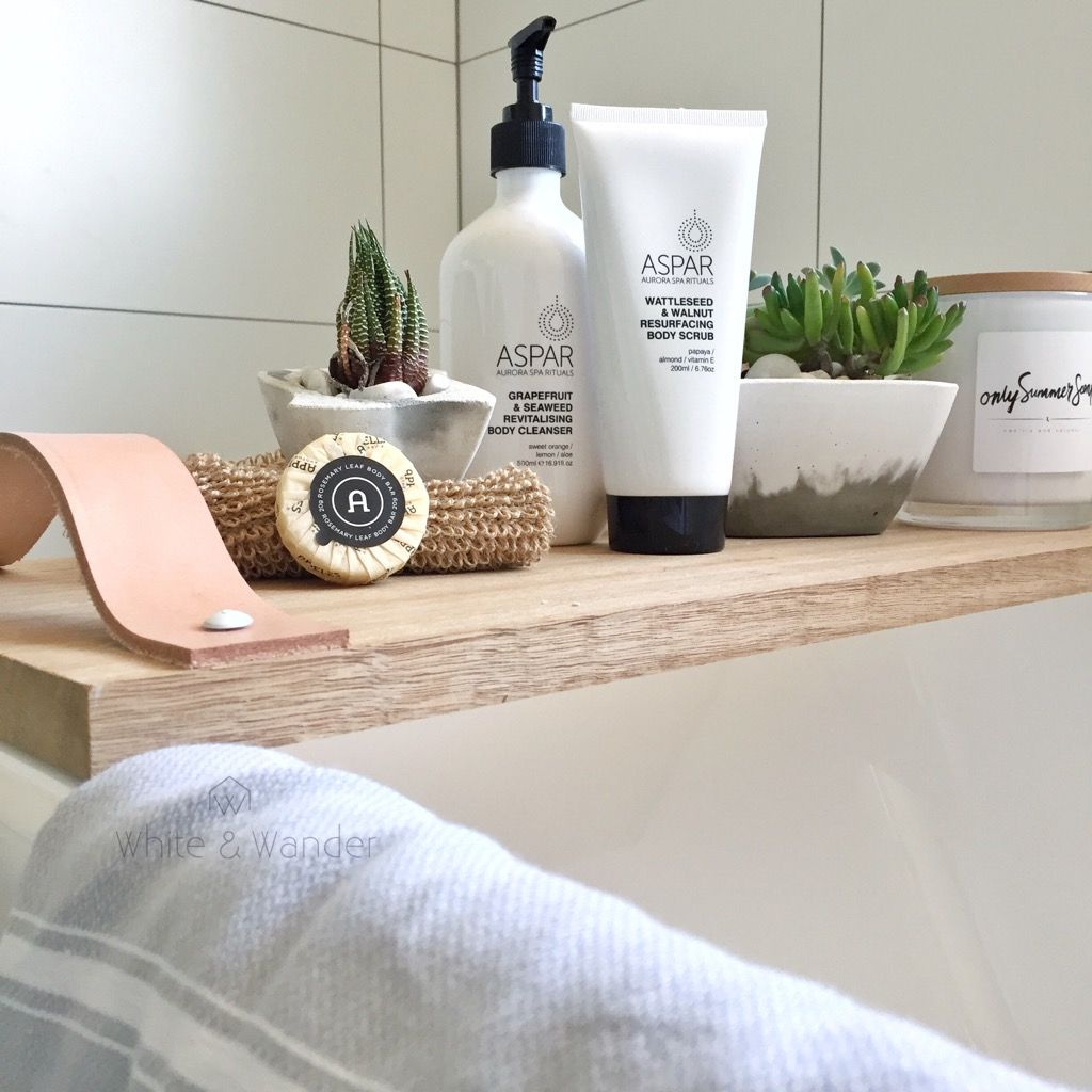 Timber bath caddy/ bath tray in Scandinavian inspired bathroom using ...