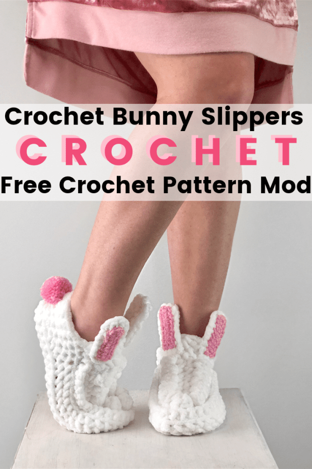 How To Easily Crochet Bunny Slippers- Exciting Free Pattern #eastercrochetpatterns