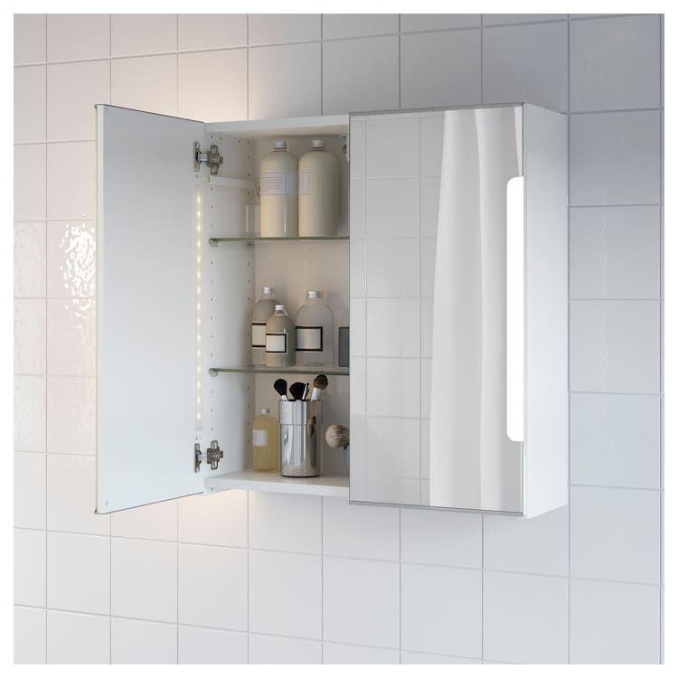 STORJORM Spiegelschrank m. 2 Türen+int. Bel. weiß IKEA