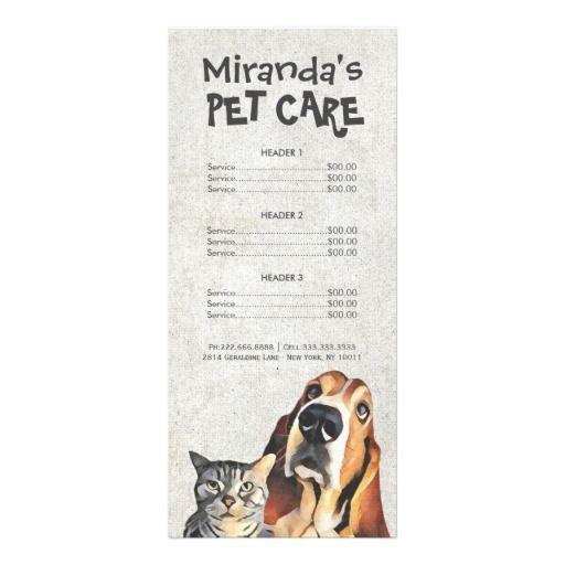 Pet Care Sitting Grooming Beauty Salon Price List Rack Card Zazzle Com Pet Care Beauty Salon Price List Dog Care Package