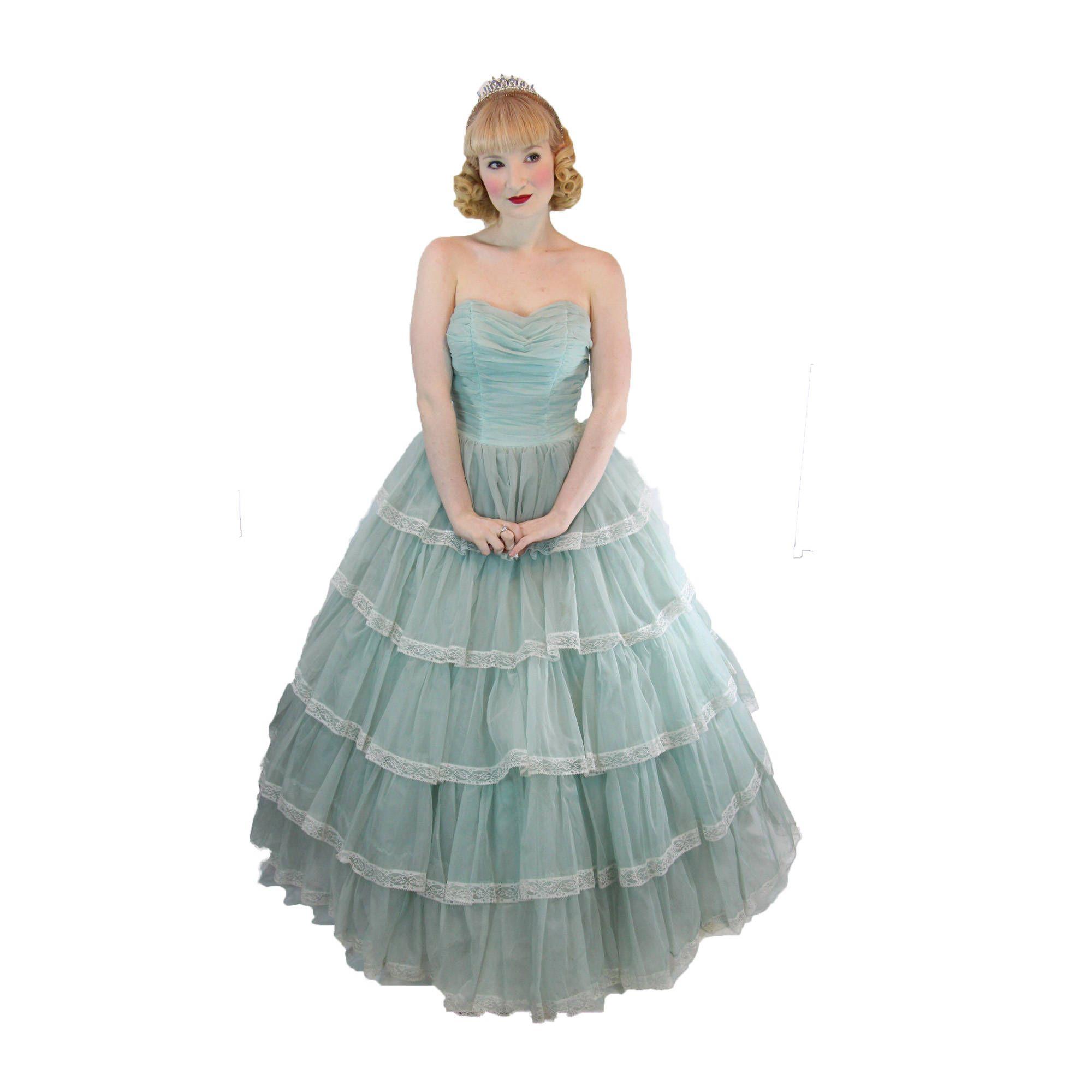 Vintage 1950\'s Princess Cupcake Dress Blue Rockabilly Prom Wedding ...