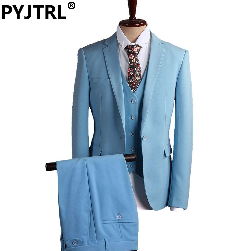 Jacket+Pants+Vest) Blue Three-piece Mens Designer Prom Business Suit ...
