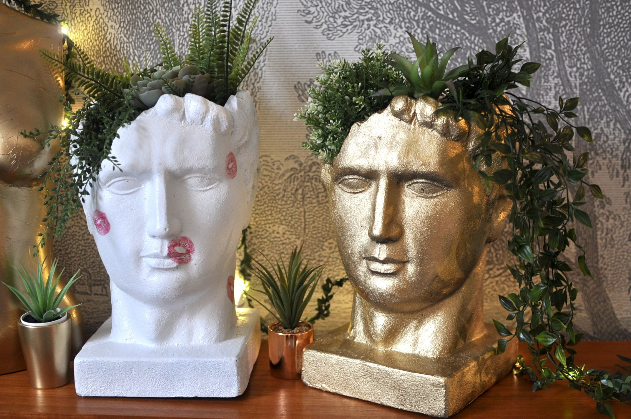 Photo of Quirky Upcycled Gold Leaf Roman Head Planter, Unusual Home Decor, Eclectic Indoor Outdoor Planter for Faux Foliage.