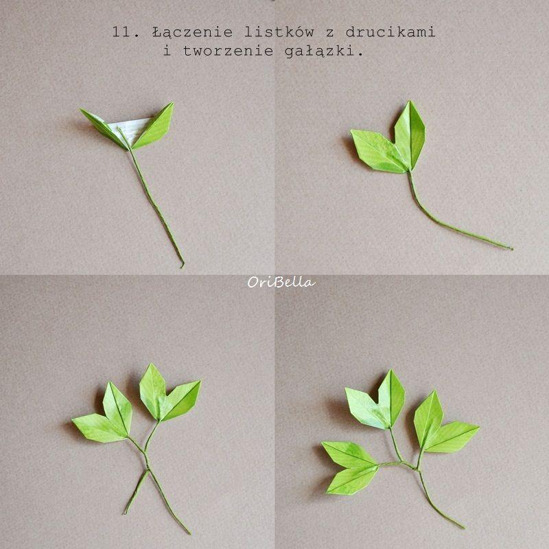 Na Blogach Ostatnimi Czasu Quot Kroluja Quot Wlasnorecznie Robione Kwiaty A Ja Do Origami Flowers Tutorial Origami Leaves Origami Flowers