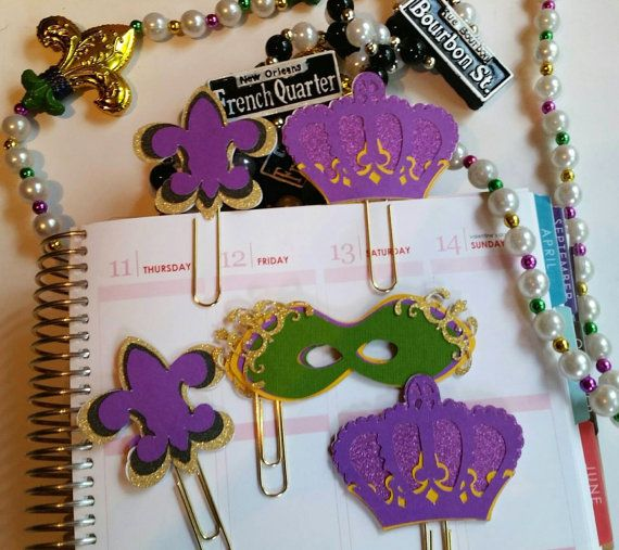 5 New Orleans/Mardi Gras Paper Clip/ Planner Clip/ Bookmark/ Erin Condren/ Plum Paper Planner/ Filofax/ KikkiK/ Inkwell Press/ EC