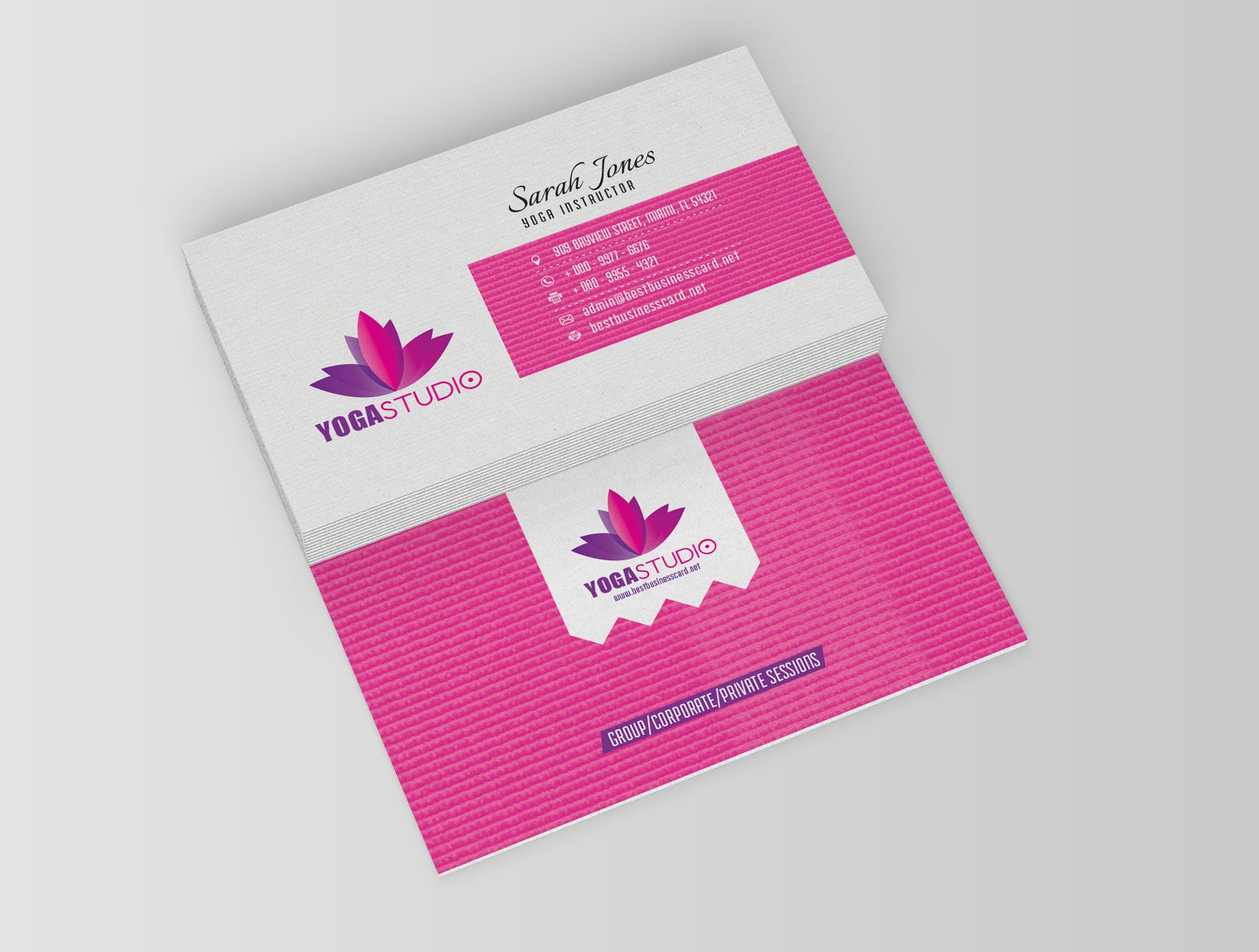 Yoga Business Cards: Free PSD Templates | Mobiles | Pinterest | Psd ...
