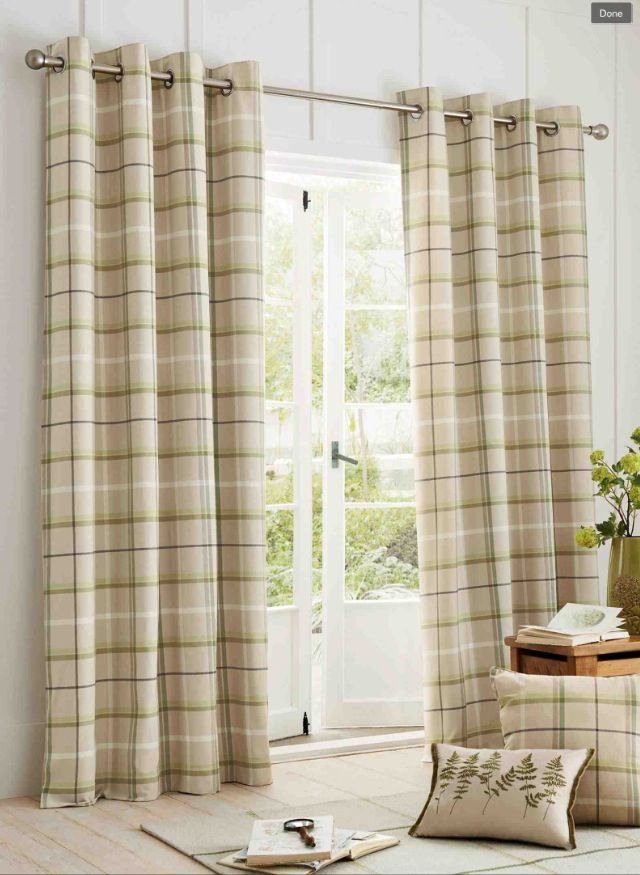Next Green Check Woven Curtains