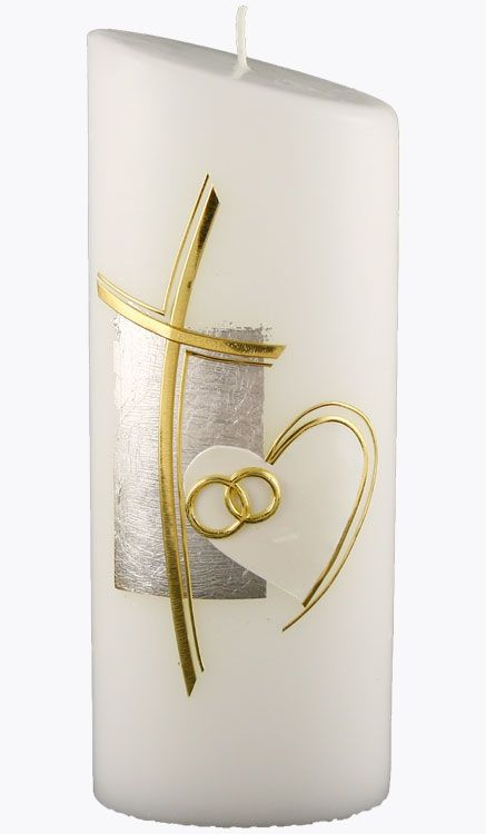 Hochzeitskerze 4416 Oval 230x90x60 Weiß Kreuz Gold