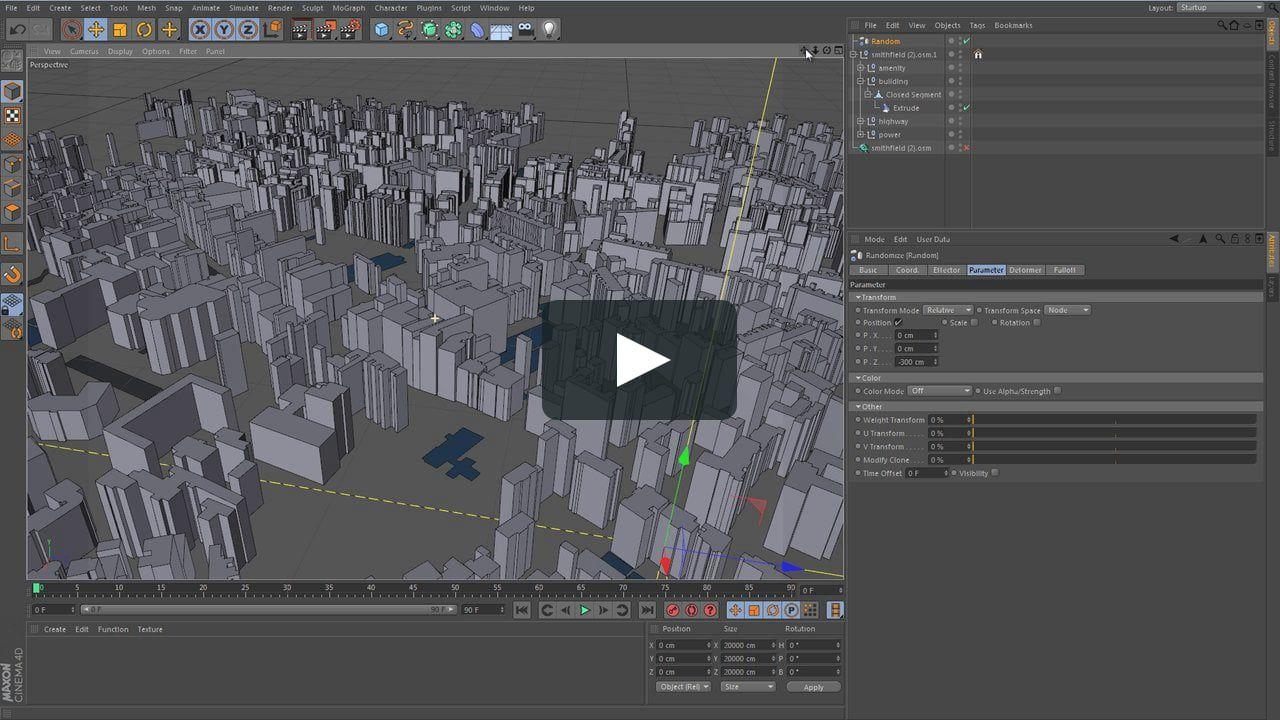 Cinema4D OpenStreetmap import  How to do a random building
