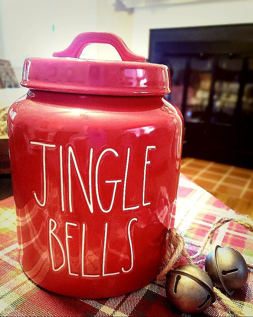 Rae Dunn Red Jingle Bells Canister Raedunn Christmas Farmhouse Rae Dunn Collection Rae Dunn Dunn
