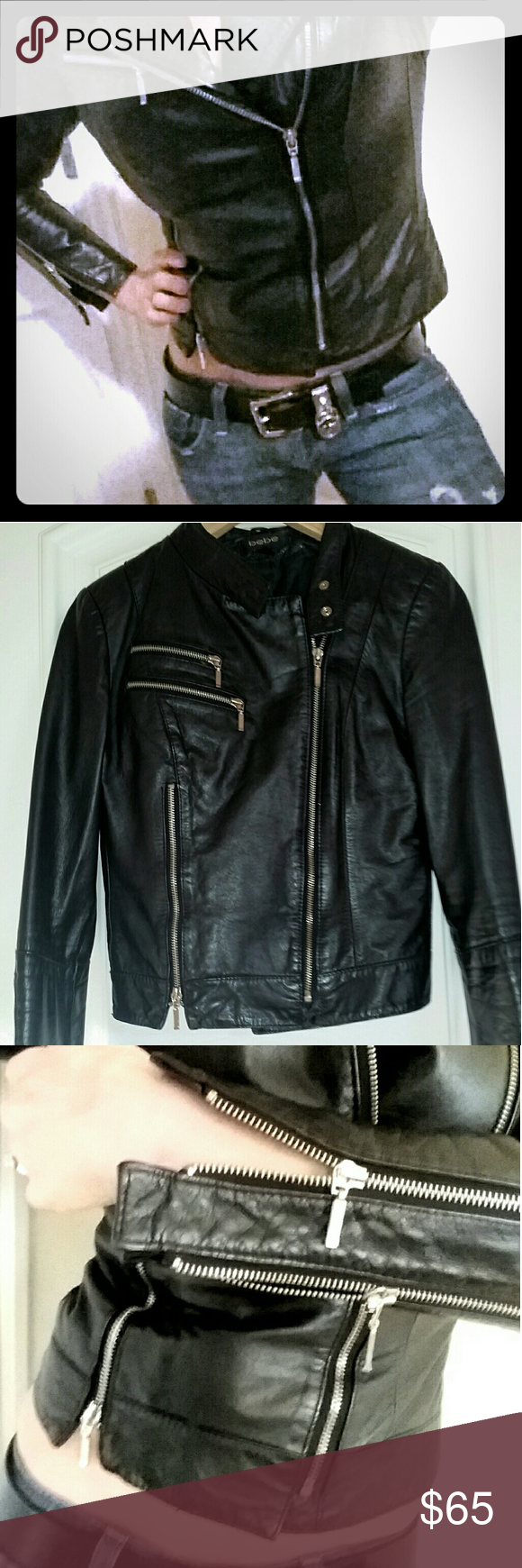 Bebe black leather moto jacket with zippers Gorgeous black leather Bebe motorcycle jacket with lots of zippers. This jacket looks really awesome on but unfortunately it's too small on me now.  Fitted, full zip up with silver zipper detail on the side and both sleeves. 2 zippered pockets on the chest.  Jacket is in overall good condition but the lining inside the sleeves is torn. You can't see it but can only tell when you put it on. However it doesn't take away from the style or comfort…
