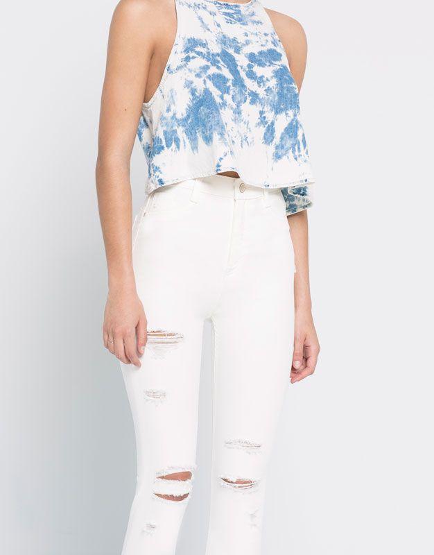 Pull Bear - mujer - favoritos - jeans pitillo rotos tiro alto - blanco -  05684329-V2016 34dfb6f997e0