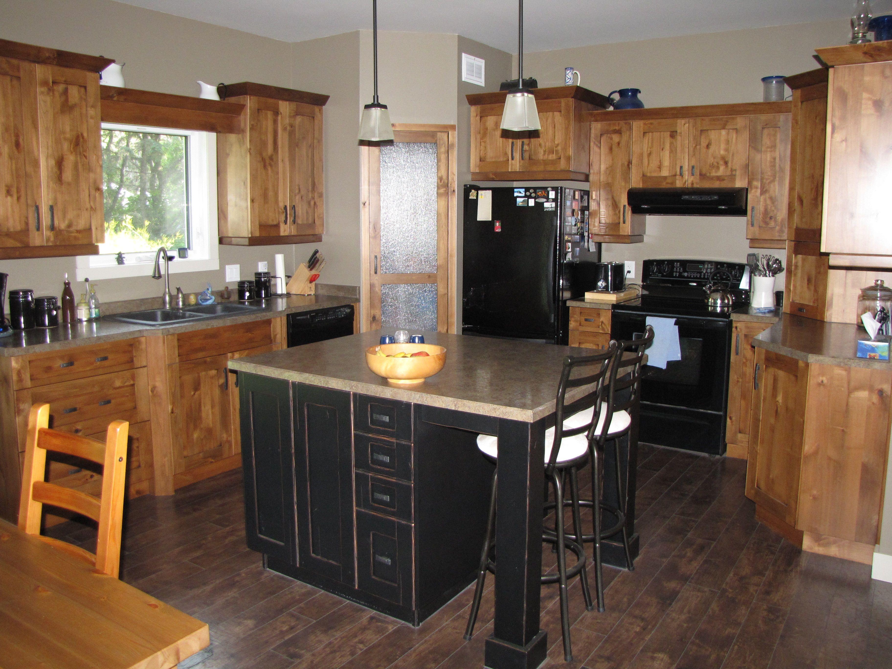Kitchen Cabinets Knotty Alder Natural with Black Glaze Island