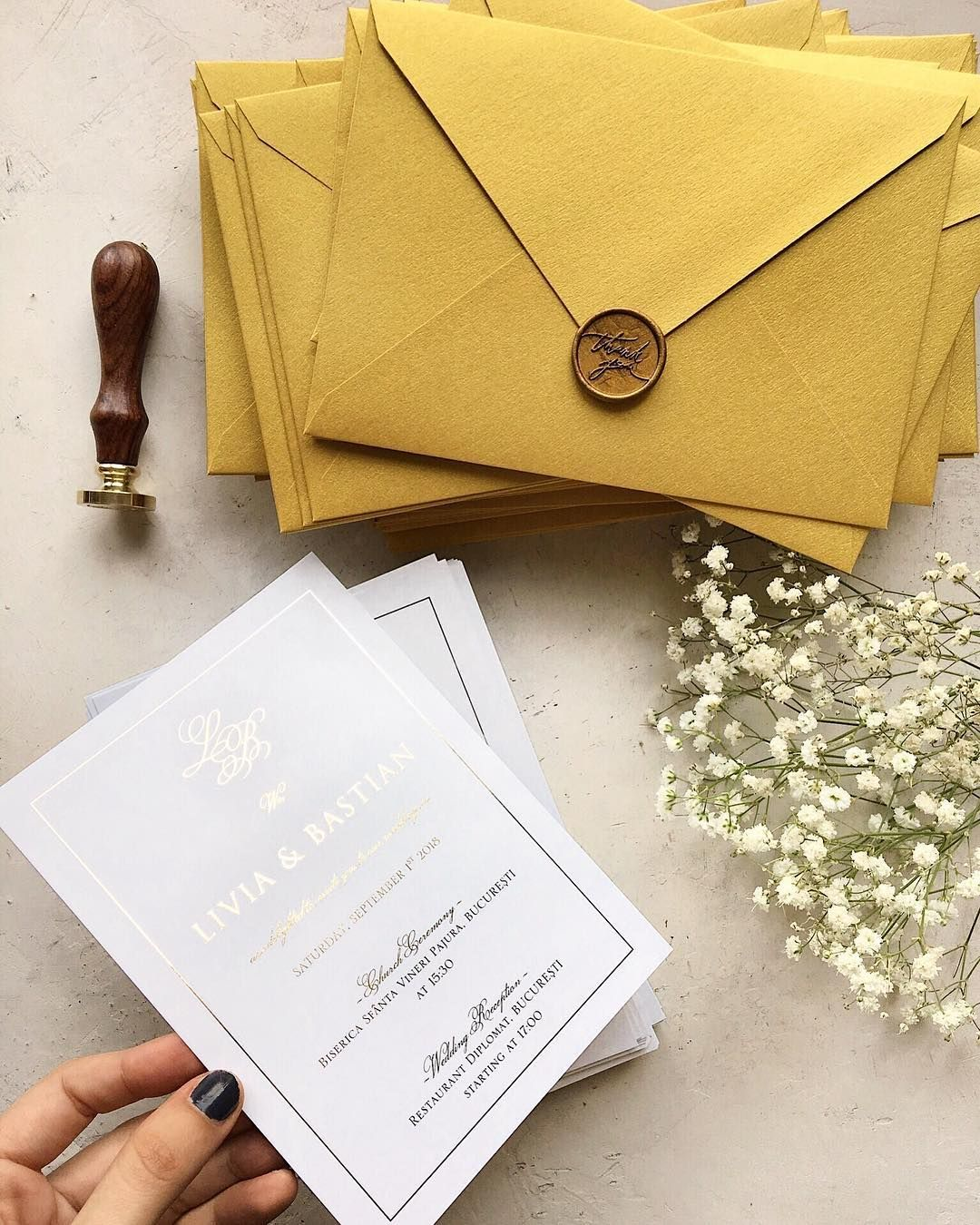 Gold Foil Wedding Invitations Gold Handmade Envelopes And Gold Wax