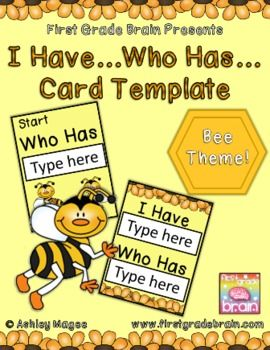 I Have Who Has Editable Card Template With A Bee Theme Bee Theme Card Template Editable Cards