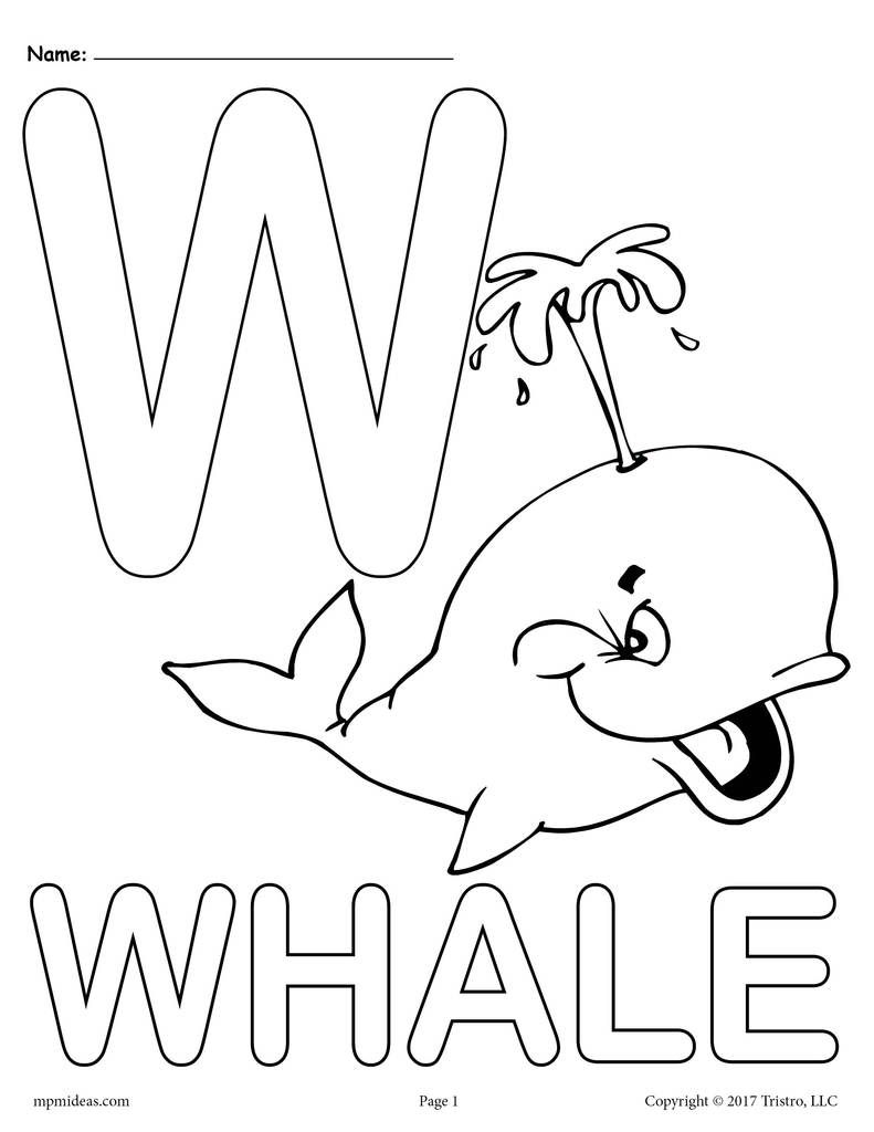 Letter W Alphabet Coloring Pages 3 Free Printable Versions